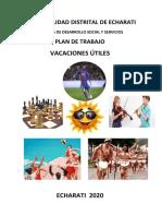ESTRUCTURA DEL PLAN DE TRABAJO VACACIONES UTILES DOCENTES