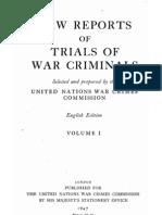 Law Reports of the Trials of War Criminals - Volume I 1947