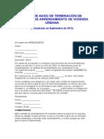 CARTA DE AVISO DE TERMINACIÓN DE CONTRATO DE ARRENDAMIENTO DE VIVIENDA URBANA