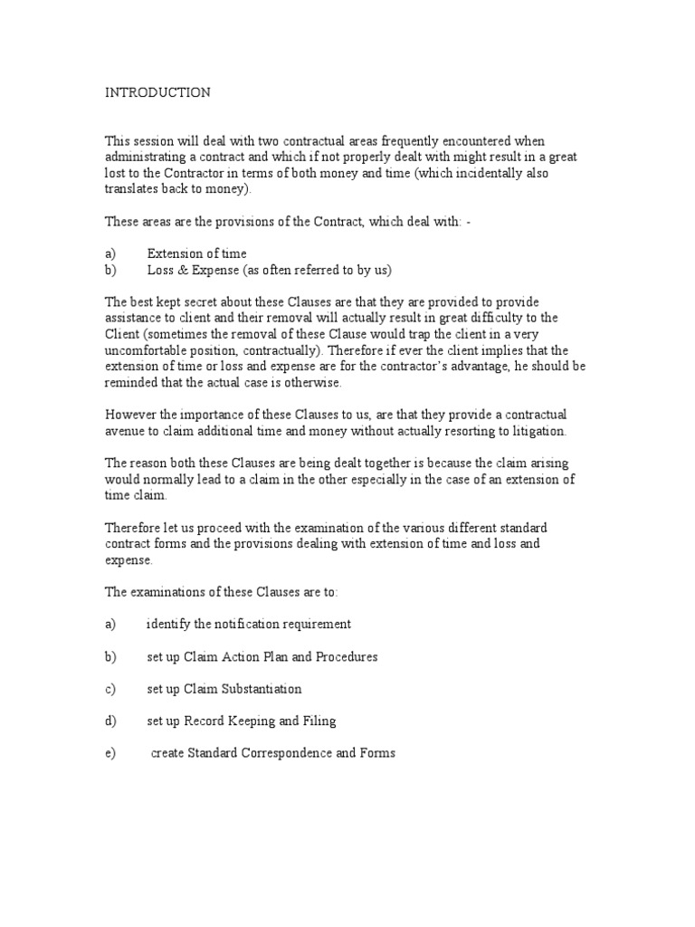 Extension Of Time Standard Letters General Contractor Architect