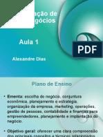 Aula_01 ADMINISTRAÇÃO DE NOVOS NEGÓCIOS