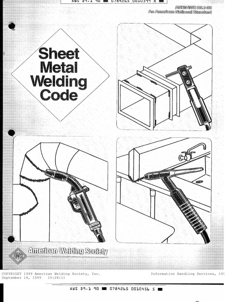 Welding Ansi Aws Standard D9 1 90 Sheet Metal Welding