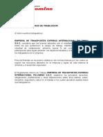 REGLAMENTO INTERNO DE TRABAJADOR EMPRESA DE TRANSPORTES EXPRESO INTERNAC....docx