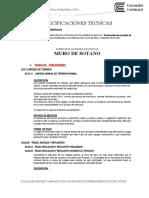 ESPECIFICACIONES TECNICAS -MURO DE SOTANO