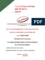 CLASES DE PROCESOS CONTENCIOSOS Y NO CONTENCIOSOS