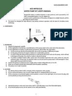 Pond pump info sheet
