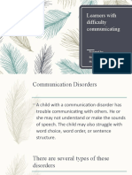 Learners with difficulty communicating