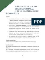 INFORME SOBRE LA SOCIALIZACION DE LAS POSIBLES REFORMAS AL ARTÍCULO 5 DE LA CONSTITUCIÓN DE LA REPÚBLICA