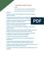 FUNCIONES DEL DIRECTOR TÉCNICO