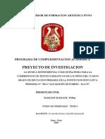 PROYECTO DE INVESTIGACION  WILBER MAMANI MAMANI ESFA.