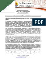 Communiqué --- Conseil Des Ministres Du 10 Juin - Global