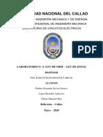 laboratorio N 2 ley de ohm y ley de joule