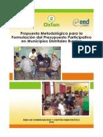 Propuesta metodológica para la formulación del presupuesto participativo