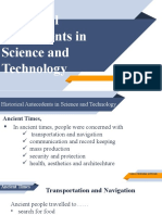 Historical Antecedents in Science and Technology