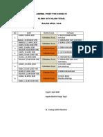 JADWAL POSKO COVID DINKES 2020