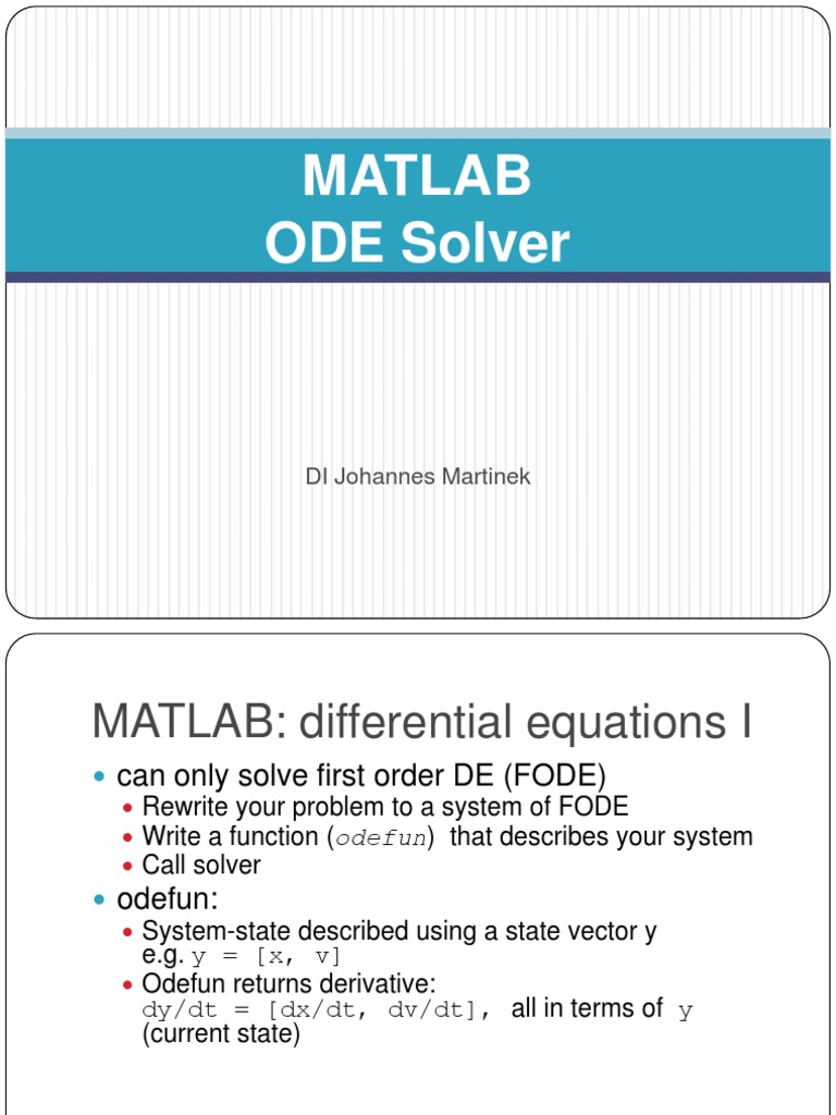 MATLAB ODE Solver | Ordinary Differential Equation | Differential