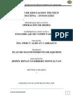 PLAN DE MANTENIMIENTO DE EQUIPO DE CÓMPUTO JRGM