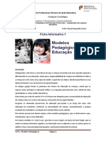 Ficha Informativa 1- Modelos Pedagógicos de Educação