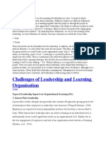 Challenges of Leadership and Learning Organisation