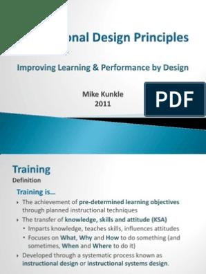 Basic Instructional Design Principles Instructional Design Emergence