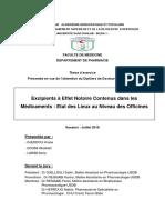 Excipients à Effet Notoire Contenus dans les Médicaments  Etat des Lieux au Niveau des Officines.pdf