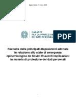 Garante Privacy - Raccolta disposizioni su Covid-19 con implicazioni privacy