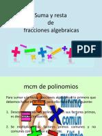 Suma y resta de fracciones algebraicas