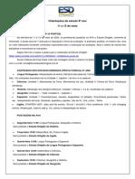 Orientações de Estudo - 11 a 15 de maio 8º ano