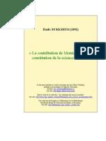 Durkheim -La contribution de Montesquieu à la constitution de la science sociale