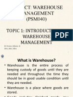 TOPIC - INTRODUCTION TO WAREHOUSE MGT
