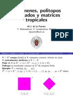 Volúmenes Politopos alcobados y Matrices  2017