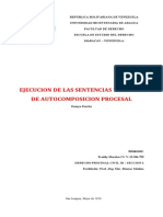 EJECUCION DE LA SENTENCIA Y FORMAS DE AUTOCOMPOSICION PROCESAL