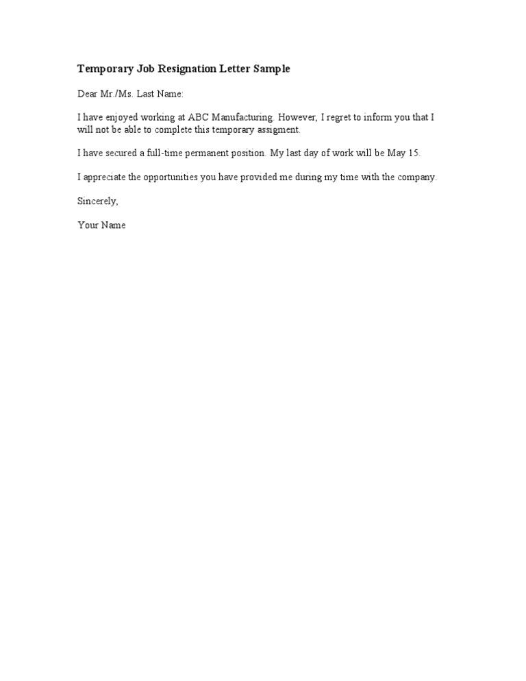 Temporary Job Resignation Letter Sample