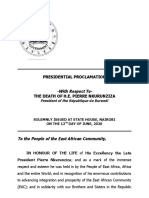 Presidential Proclamation with respect to the death of H.E. Pierre Nkurunziza, President of the Republic of Burundi.