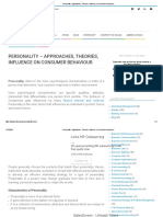 PERSONALITY _Approaches, Theories, Influence on Consumer behaviour