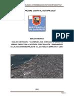"""Estudio Tecncico_ """"Analisis de Peligro y Vulnerabilidad Del Sector 03 y 07 de Riesgo de Desastre Urbano en Materia de Vivienda Construccion y Saneamiento en El Distrito de Huallmay – Huaura – Lima"""""""