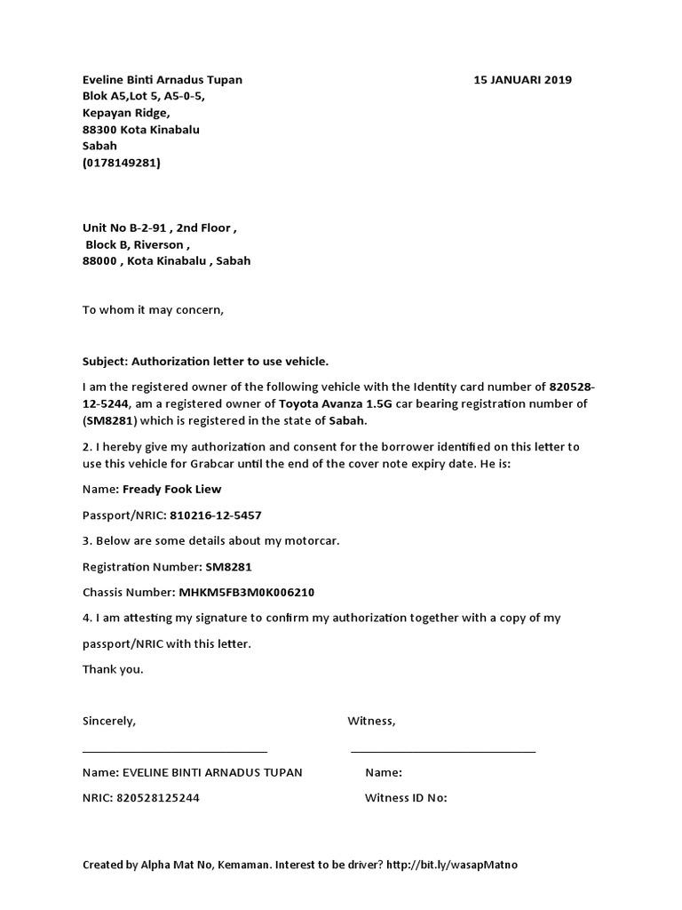 Authorize Letter For Grab Car Surat Kebenaran Grab Authentication Motor Vehicle