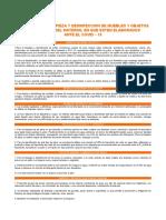 Protocolo limpieza de muebles ante el Covid-19