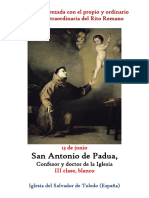 13 de Junio. San Antonio de Padua, confesor y doctor de la IGlesia. Propio y Ordinario de la santa misa