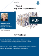Lesson 2. (Background notes, step 1). What is Journalism (by Dr Andrea Baker)