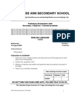 Ngee Ann Sec English P2 Prelim 2006