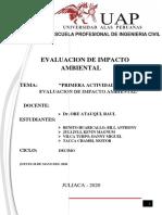 Primera actividad de evaluacion de impacto ambiental