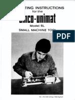 Emco Unimat SL and DB Manual (English)