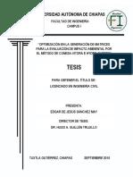 OPTIMIZACIÓN EN LA GENERACIÓN DE MATRICES PARA LA EVALUACIÓN DEL IMPACTO AMBIENTAL POR EL MÉTODO CONESA-VITORA E HYDRO-QUEBEC.pdf
