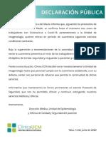 Comunicado Clínica UCM.