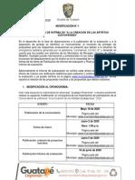 Modificación Nº 1 Convocatoria- Cronograma  convocatoria artistas locales.