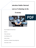 Communication Studies Internal Assessment on Technology In a Countries Economy