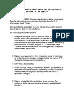 UNIVERSIDAD SANTO TOMAS FACULTAD DE FILOSOFÍA Y LETRAS TALLER DEBATE