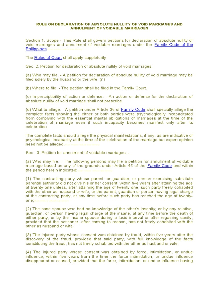 Rules on Annulment of Marriage | Annulment | Lawsuit