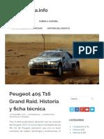 Peugeot 405 T16 Grand Raid. Historia y ficha técnica – MotorMania.info